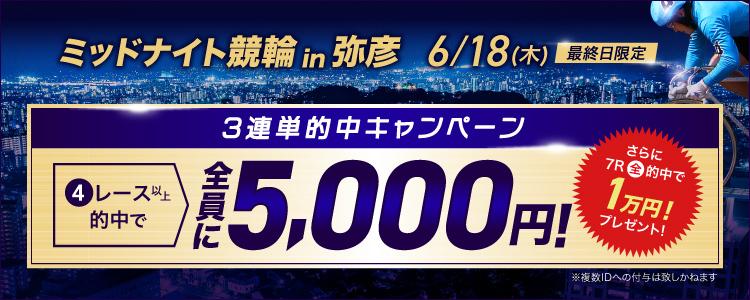 最終日限定!【3連単的中キャンペーン】弥彦競輪F2ミッドナイト3連単4R以上的中で5,000円プレゼント!さらに7R全的中で1万円追加プレゼント!