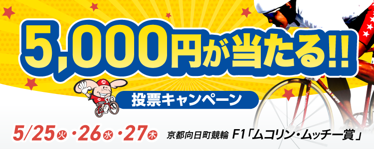 京都向日町競輪F1「ムコリン・ムッチー賞」投票キャンペーン