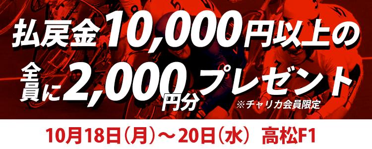 【高松F1】トータル払戻金額1万円達成で全員にチャリカ2,000円分プレゼント!