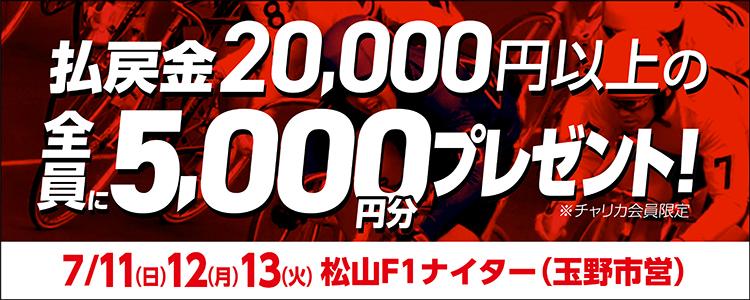 【松山F1ナイター】トータル払戻金額2万円達成で全員にチャリカ5,000円分プレゼント!