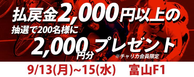 【富山F1】トータル払戻金額2,000円以上達成で抽選200名様にチャリカ2,000円分プレゼント!