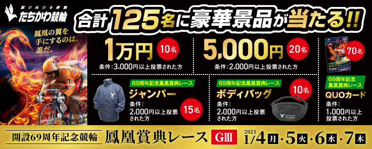 合計125名様に豪華景品が当たる!立川競輪【G3】「鳳凰賞典レース」投票キャンペーン