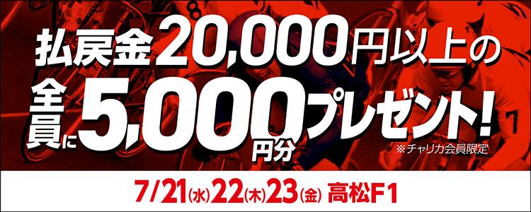 【高松F1】トータル払戻金額2万円達成で全員にチャリカ5,000円分プレゼント!