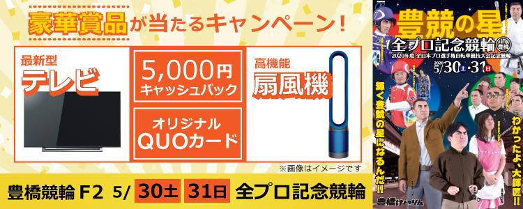 4K液晶TVなど豪華賞品が当たる!豊橋競輪F2「全プロ記念競輪」投票キャンペーン