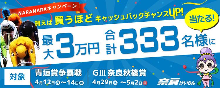 最大3万円が合計333名様に当たる!NARANARAキャンペーン