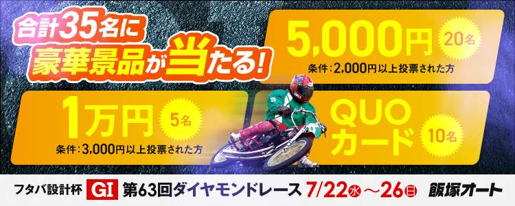 1万円が当たる!飯塚オート【G1ナイター】「第63回ダイヤモンドレース」投票キャンペーン