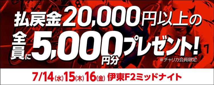 【伊東F2ミッドナイト】トータル払戻金額2万円達成で全員にチャリカ5,000円分プレゼント!